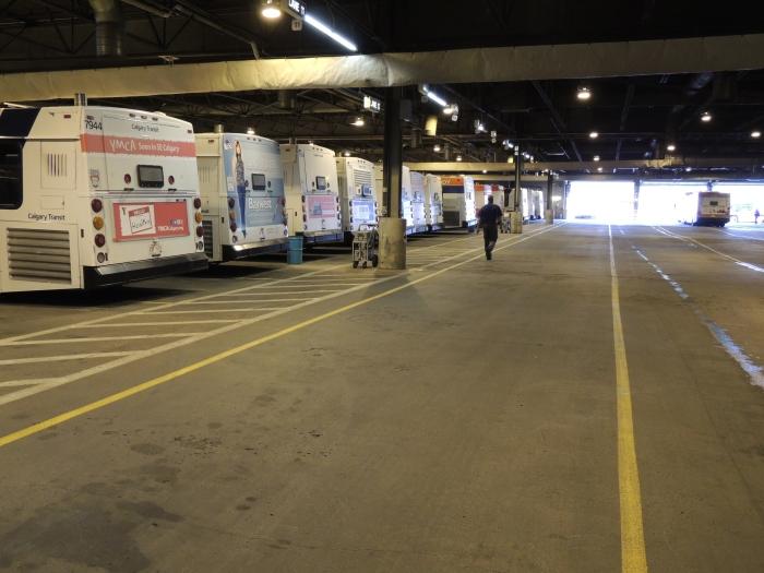 inside the bus depot