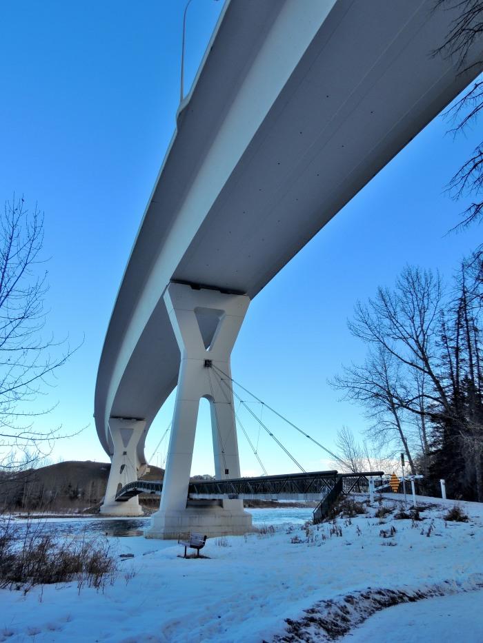 Bow River hiking beneath Stoney Trail Bridge