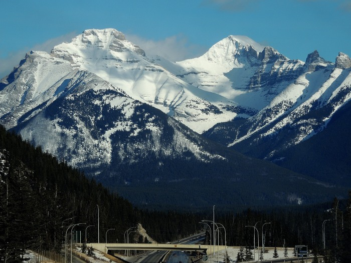 Driving along the Trans Canada - Cascade Mountain near Banff...