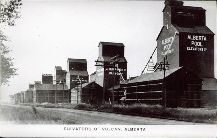Grain elevators in Vulcan, Alberta