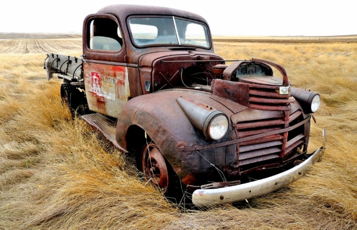 One of the only vehicles we did see while traveling the back roads of Alberta