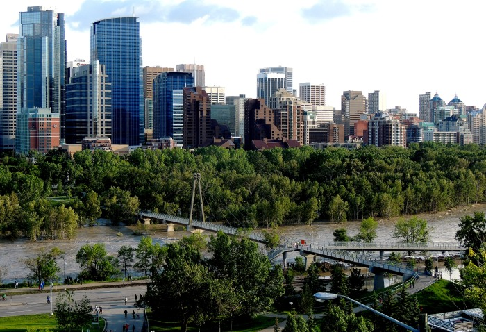 The Bow River, what is left Prince's Island Park looking south towards downtown
