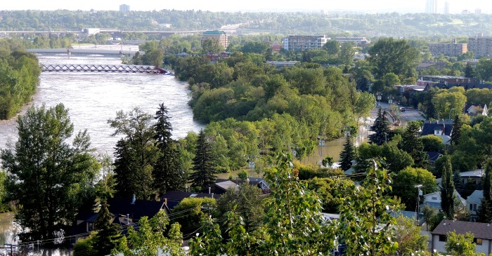 Looking down at the community of Sunnyside  along side the Bow River
