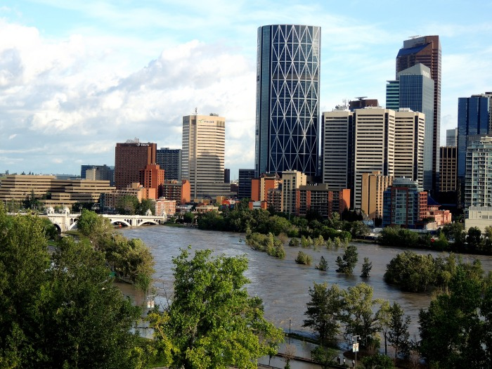 Looking east at the Centre Street Bridge towards downtown.  The Mayor has stated that the downtown core is to remain closed until further notice.